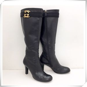 Gucci Marmont Leather Over the Knee Boot Black